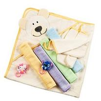 Baby Bath Gift Set: Bamboo Hooded Towel 4 Washcloths 2
