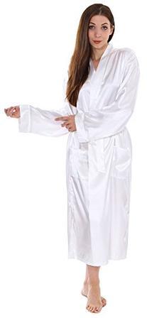 Simplicity Unisex Long Satin Kimono Robe Sleepwear White,