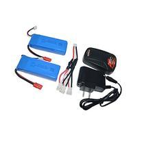Blomiky 2pcs 7.4V 2000mAh Battery Banana Plug and Charger