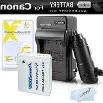 Battery And Charger Kit For Canon PowerShot Canon SX500 IS,