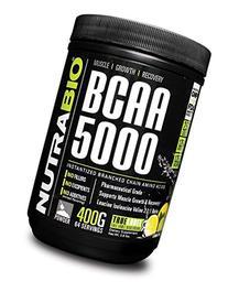 NutraBio BCAA 5000 Powder - 396 Grams - LEMON LIME - 100%