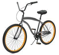 Men's Beach Cruiser 3-Speed Bike, Graphite/Orange, 16-Inch/