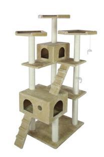 BestPet Cat Tree Pet House Condo Activity, 73-Inch, Beige