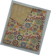 Beige Floral Print Handmade Suzani Kantha Quilt, Indian
