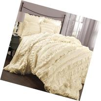 Lush Décor Belle 4 Piece Ruffled Comforter Set with Bed