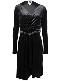 Anne Klein Women's Belted Faux Wrap Velvet Dress