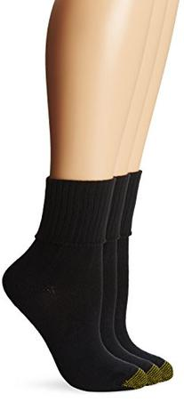 Gold Toe Women's 3-Pack Bermuda Turn Cuff Sock 3-Pack, Black