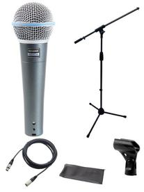 Shure Beta 58a Microphone Bundle with Mic Boom Stand and XLR