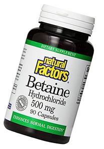 Natural Factors Betaine Hcl 500mg Capsules, 90-Count