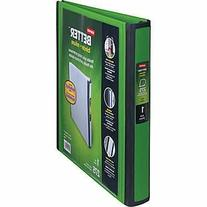 "1"" Staples Better View Binder with D-Rings, Green"