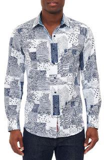 Men's Robert Graham Bhakti Sport Shirt, Size Medium - Blue