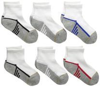Gold Toe Big Boys' 6 Pack Athletic Quarter Sock, White/Multi