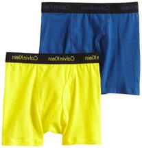Calvin Klein Big Boys' Assorted 2 Pack Boxer Briefs, Blue/