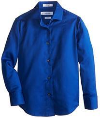 Calvin Klein Big Boys' Long Sleeve Sateen Dress Shirt, Dark