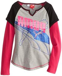 PUMA Big Girls' Cuffed Raglan Slider, Grey Dawn, Small