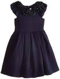 Bonnie Jean Big Girls' Dress with Floral Neckline, Navy, 8