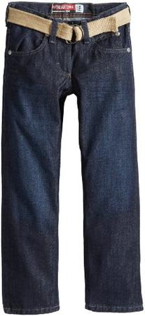 Lee Big Boys' Dungarees Belted Straight Leg Jeans, 3-D Raw,