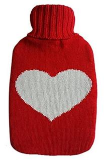 Warm Tradition Big Heart Knit Covered Hot Water Bottle -