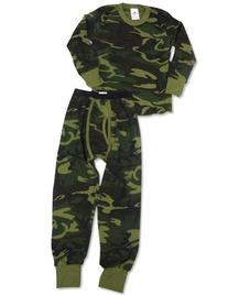 Indera Big Boys Long Sleeve Camouflage Thermal Set, Olive,