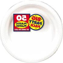 Amscan Big Party Pack 50 Count Plastic Lunch Plates, 10.5-