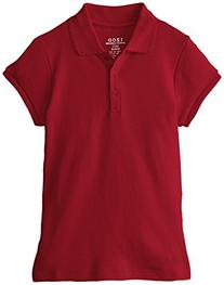 Izod Big Girls' Short Sleeve Uniform Polo, Red, Large
