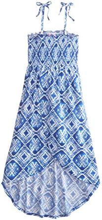 Derek Heart Big Girls' Smocked Tulip Hem Maxi Dress, Blue