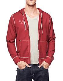 True Religion Men's Big T Stitch Hoodie Sweatshirt, Ruby Red