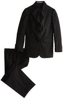 Perry Ellis Big Boys' Tri-Wool Wool Gab Suit, Black, 12