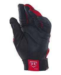 Under Armour Boys' Clean-Up VI Batting Gloves, Red/Black,