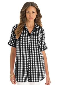 Roamans Women's Plus Size French Check Bigshirt French Blue