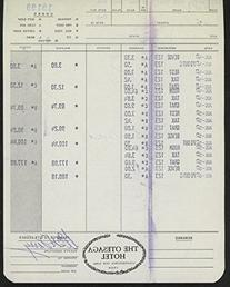 Bill Terry Signed Receipt from Otesaga Hotel During 1973