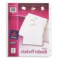 ** Binder Pockets, 8-1/2 x 11, Clear, 5 Pockets/Pack