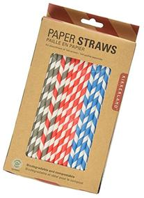 Kikkerland Biodegradable Stripe Paper Straws, Multicolored,