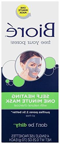 Biore Self Heating One Minute Mask, .25 oz each, 4 Count