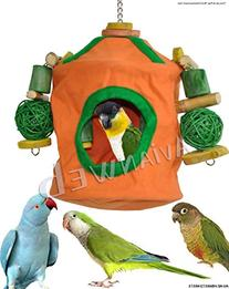"""Snooze & Play"" Bird Roosting Hut & Chew Toy Combo - ""Best"