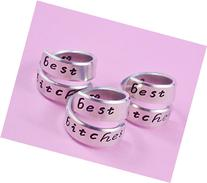 Best Bitches - Hand Stamped Aluminum Spiral Wrap Rings Set