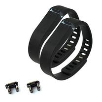 2pcs Small S Black Band With 2pcs Replacement Metal Clasp