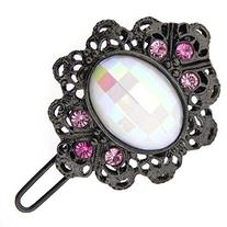 1928 Jewelry Black-Tone White and Pink Crystal Hair Barrette