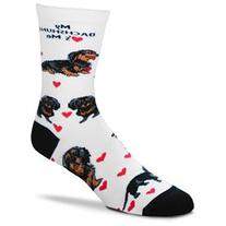 Black Dachshund Hearts Me Socks by For Bare Feet