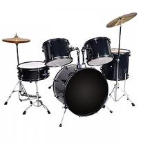 New Black Drum Set 5 PC Complete Adult Set Cymbals Full Size