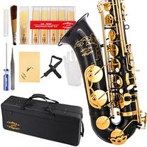 Glory Black/Gold B Flat Tenor Saxophone with Case,10pc Reeds