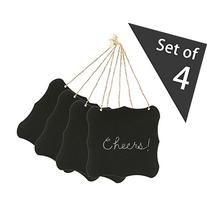 Set of 4 Black 5.5 Inch Hanging Wood Chalkboard with Strings
