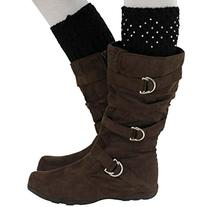 Luxury Divas Black Knit Crystal Rhinestone Boot Cuff Topper