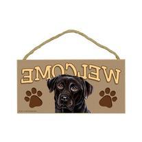 Black Labrador Retriever Wood Welcome Door Sign 5''x10