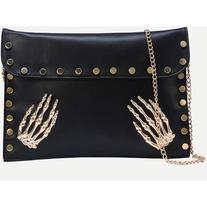 Black Metal Skeleton Hand Accent Studded Clutch Bag