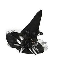Black Colored Miniature Witch's Hat Dual Hair Clip Accessory