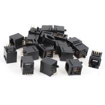 20 Pcs Black Plastic 180 Degree RJ12 6P6C Network Modular