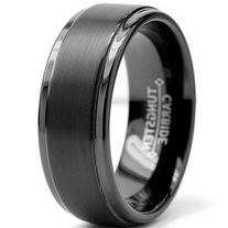 8mm Black High Polish / Matte Finish Men's Tungsten Ring