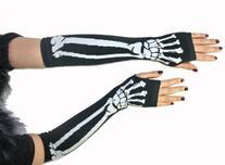 New Black Punk Gothic Dark Rock White Skeleton Long Arm