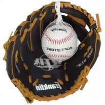 Franklin Sports Black & Tan Baseball Glove with Ball